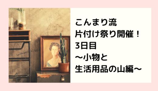 こんまり流片付け祭り開催!3日目〜小物と生活用品の山編〜